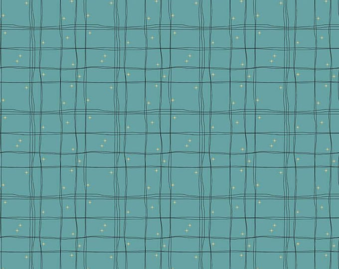 Plaid in Teal from the Mod Meow Collection by Riley Blake Designs
