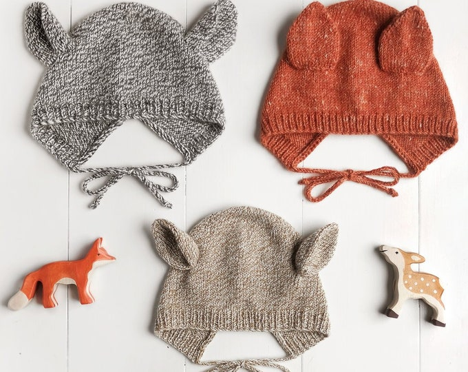 Baby + Child Animal Bonnet Knitting Pattern by Wiksten