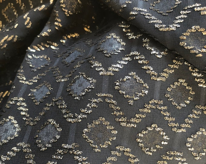 Sheer Special Occasion Fabric - Black Glitter