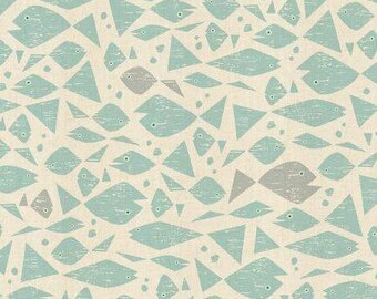 Happy Fish in Aqua Unbleached Fabric from the By the Seaside Collection for Cotton + Steel