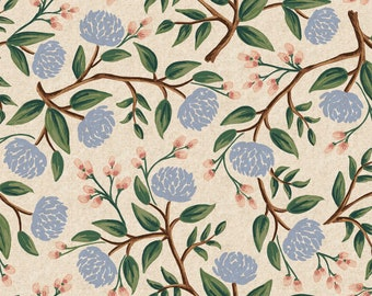 Peonies in Cream Canvas for Wildwood Collection by Rifle Paper Co.