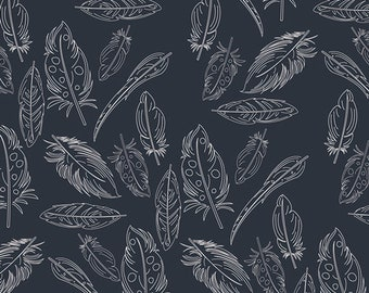 Panache Profundo Knit in Navy from Petal and Plume by Bari J. for Art Gallery Fabrics