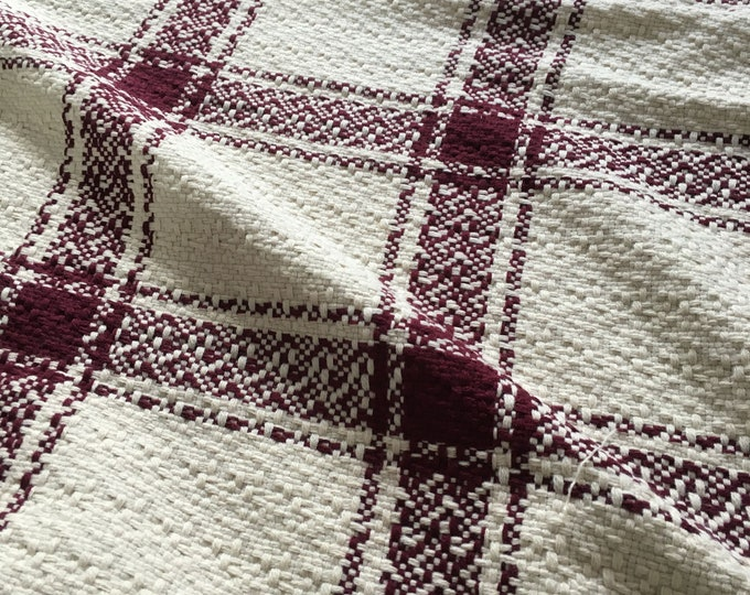 Large Scale Window Pane Woven in White + Burgundy