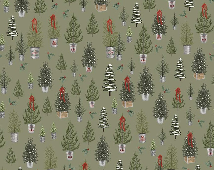 Trees in Sage from the Farmhouse Christmas Collection for Riley Blake Designs