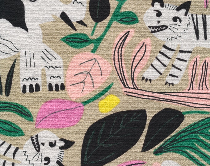 Jungle Forest  in Gray Barkcloth for the WILD Collection by Cloud9