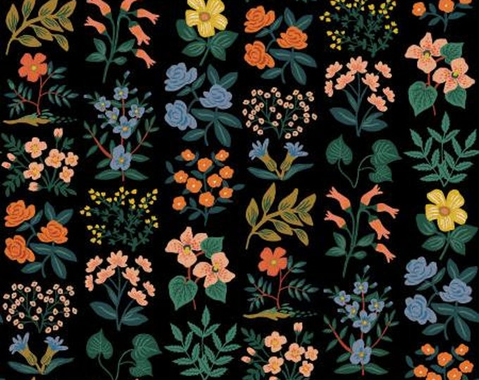 Wildflower Field in Black Cavas Fabric from Meadow by Cotton + Steel