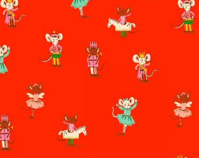 Nutcracker Mice in Red Pink Flannel for the Sugarplum Collection by Heather Ross for Windham Fabrics