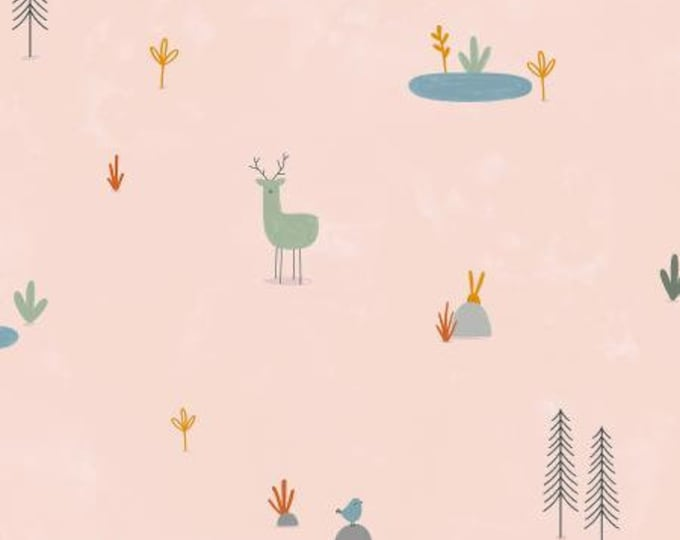 Forest Cuties in Blush Unbleached Cotton Fabric from the Dear Friends Collection for Cotton + Steel