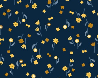 Flower Picking in Navy for the Neko + Tori Collection by Cotton + Steel