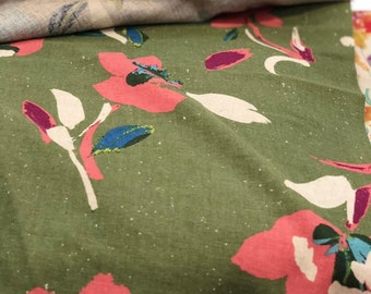 Army Green and Pink Floral - Sheeting by HOKKOH