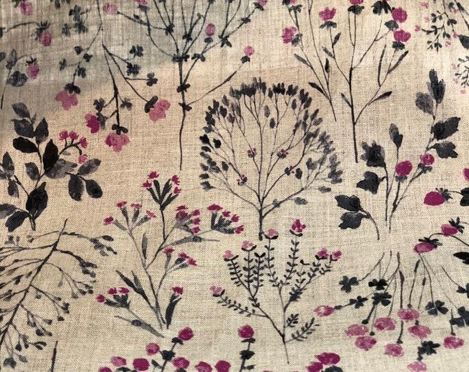 Fushia Wild Flower on Natural - Linen Sheeting by HOKKOH