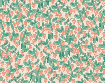 Strawberries in Blush Fabric from Primavera by Rifle Paper Company