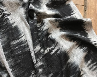 One-sided Shibori Inspired French Terry in Black and Gray