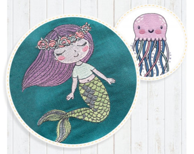 Mermaid at Heart Collection Machine Embroidery Designs by Scissortail Stitches