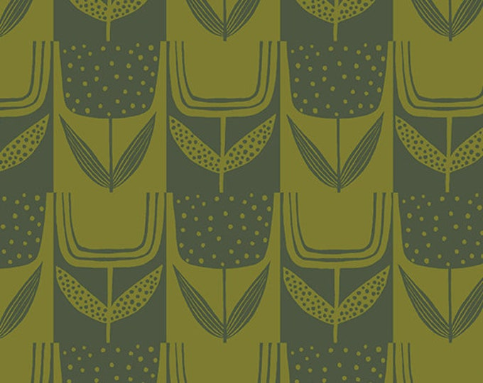 Patchwork Tulip in Olive from the Perennial Collection by Sarah Golden for Andover