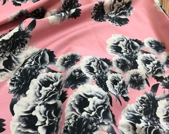 Graphic Print Floral on Pink Cotton Lawn