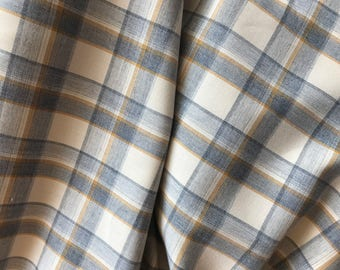 Cotton French Blue and Goldenrod Plaid on Natural Background
