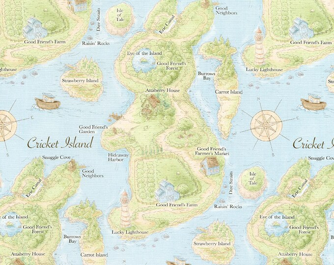 Map in Blue- Cotton Tail Farm from Bunnies by the Bay- Timeless Treasures Fabric