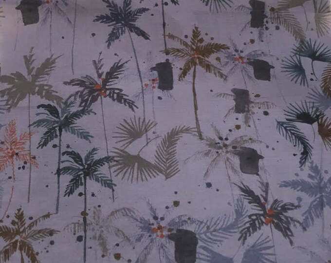 Watercolor Palms on Violet - 100% Cotton Lawn by HOKKOH