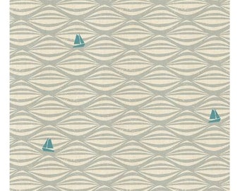 Ahoy in Fog Unbleached Fabric from the By the Seaside Collection for Cotton + Steel