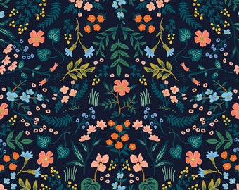 Wildwood in Navy Metalic for Wildwood Collection by Rifle Paper Co.