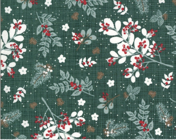 Winter Foliage - BRUSHED Cotton in Spruce from the Juniper Collection by Moda Fabrics