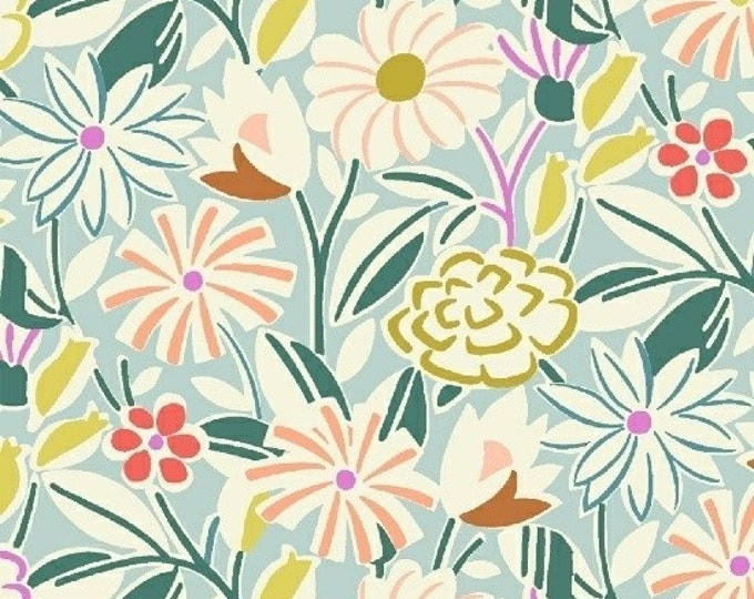 Summer Bouquet in Aqua from Penelope by Annabel Wrigley for Windham Fabrics