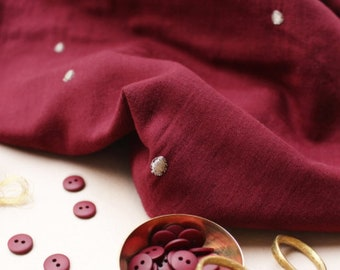 PRE SALE: Cotton Double Gauze - Stardust in Amarante Fabric  by Atelier Brunette