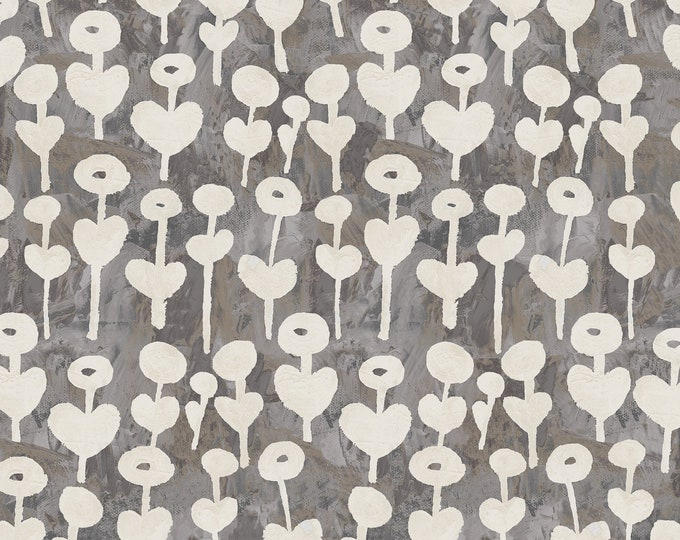 Love Flower - Gray Fabric from Once Upon A Time by Cotton + Steel