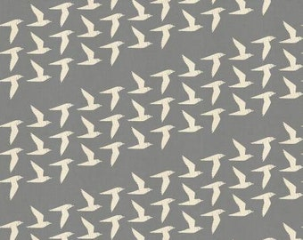 Fly Along in Fog Unbleached Fabric from the By the Seaside Collection for Cotton + Steel