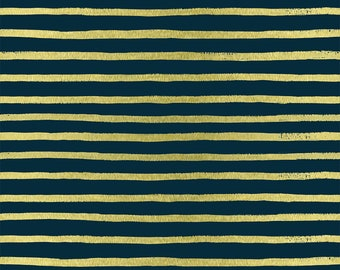 Stripes (navy METALLIC) from English Garden by Rifle Paper Co.