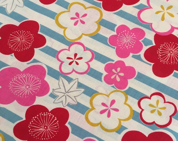 Ume with Stripe, 100% Cotton Sheeting in Blue, Red and Pink by Kokka