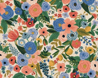 Garden Party in Blue Canvas for Wildwood Collection by Rifle Paper Co.