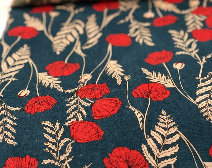 Red Poppies on Blue - Linen Sheeting by HOKKOH