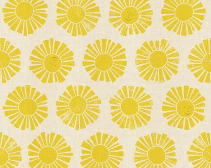 Sunshine in Yellow Unbleached Fabric from the By the Seaside Collection for Cotton + Steel