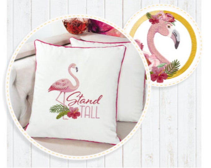 Floral Flamingo Collection Machine Embroidery Designs by Scissortail Stitches