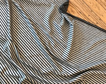 Super Soft Viscose French Terry in Charcoal Grey Stripe