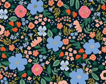 Wild Rose in Black RAYON from Primavera by Rifle Paper Company