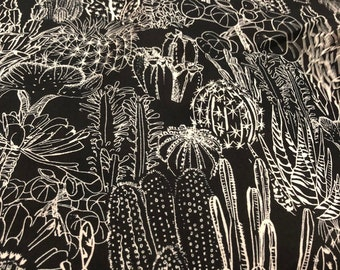 Cactus on Black - 100% Cotton Lawn by HOKKOH