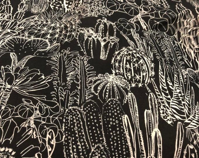 Cactus on Black - 100% Cotton Lawn by HOKKOH