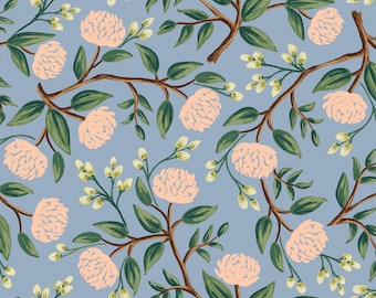 PRESALE: Peonies in Blue Canvas for Wildwood Collection by Rifle Paper Co.