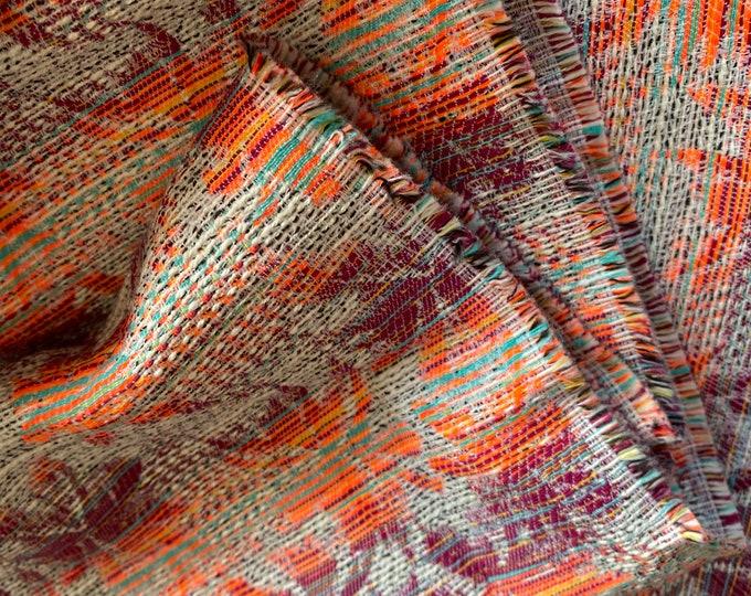 Cotton Blend Woven in Orange + Burgundy