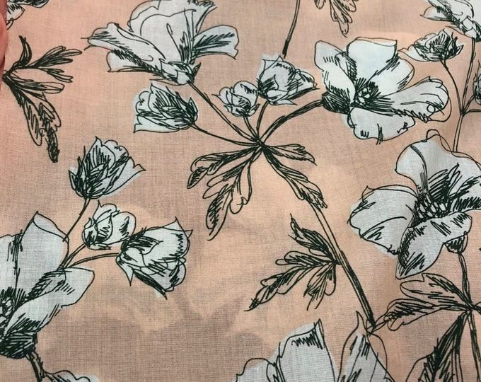 Blue Poppies on Blush - 100% Cotton Lawn by HOKKOH