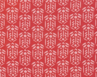Tisket in Coral from Garden Ramble by Sarah York - Certified Organic Double Gauze Cotton