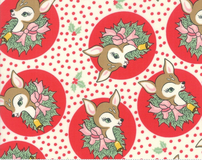 Polka Dot Deer in Peppermint from the Deer Christmas Collection by Moda Fabrics