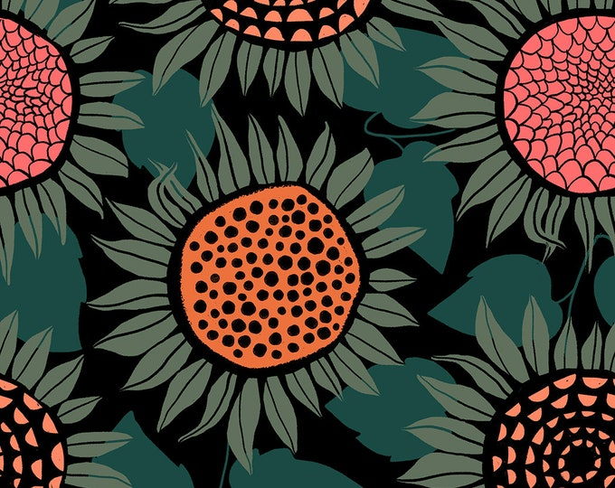 PRESALE: Sunflowers (in green, KNIT) from Front Yard Collection by Sarah Watts for Cotton + Steel