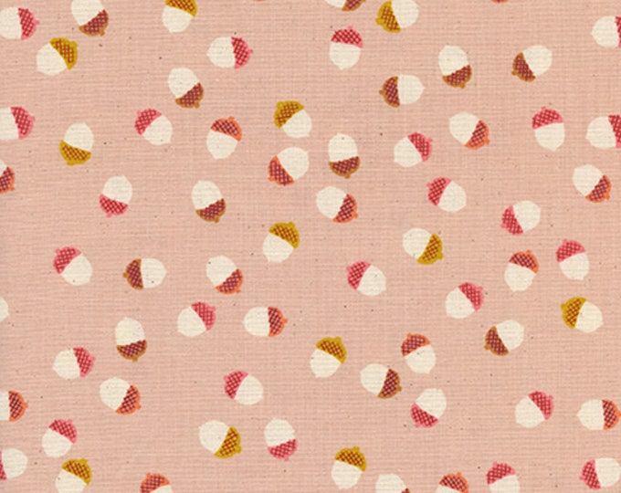 Pre-Sale: Acorns (Peach) from Firelight by Melody Miller for Cotton +Steel - Unbleached Cotton White Pigment Fabric