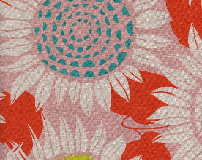 PRESALE: Sunflowers (in pink, CANVAS) from Front Yard Collection by Sarah Watts for Cotton + Steel