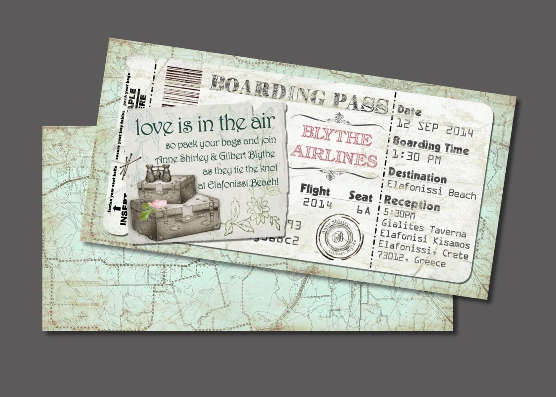Koffer-Bordkarte Einladung für Hochzeit sparen das Datum