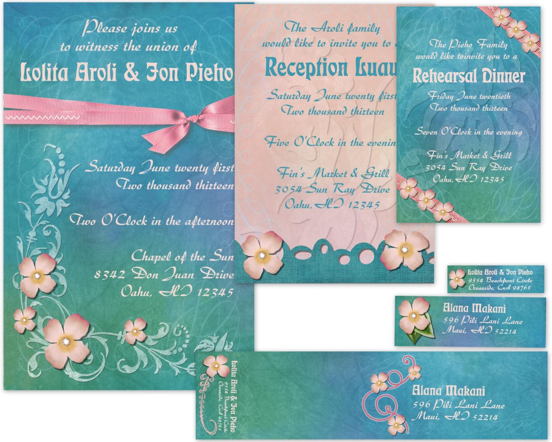 Printable Beach Wedding Invitations: Hawaiian Beach Wedding Invitation Collection DIY Printable